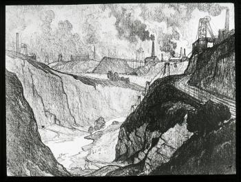 "Lantern slide scan, Joseph Pennell's ""Iron Mine"" lithograph."