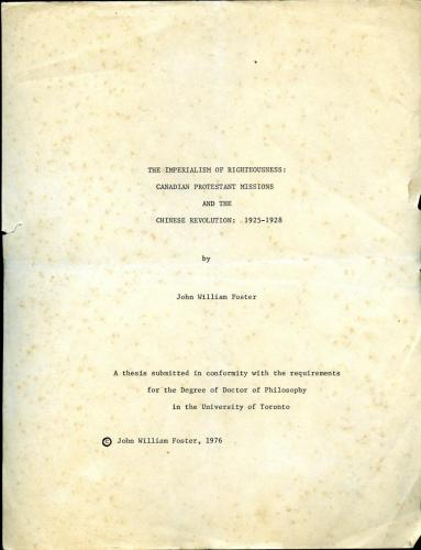 Cover of Dr. John Foster's 1976 PhD thesis.