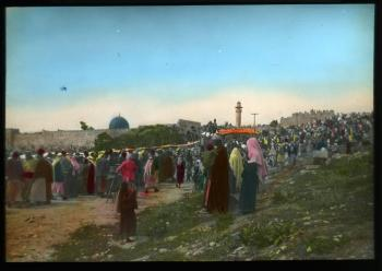 Lantern slide scan, gathering of people.