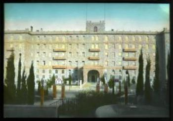 Lantern slide scan, frontal view of unknown building.