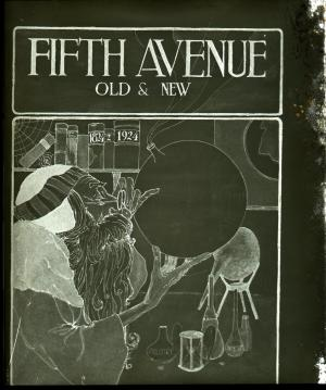 Lantern slide scan, fifth avenue 100th anniversary poster.