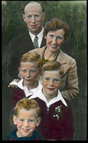 Lantern slide scan of Reverend and family.