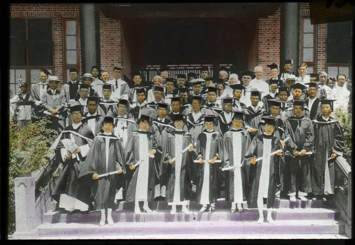 Lantern slide scan of West China Union University graduating class in 1935.