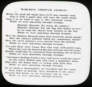 Lantern slide scan, Marching Through Georgia lyrics.