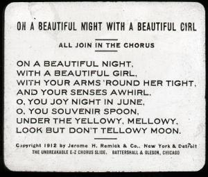 Lantern slide scan, On a Beautiful Night with a Beautiful Girl lyrics.