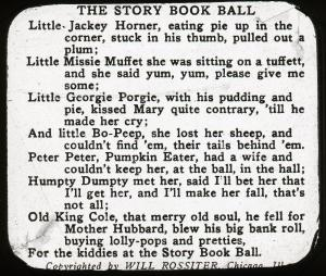 Lantern slide scan, the Story Book Ball lyrics.