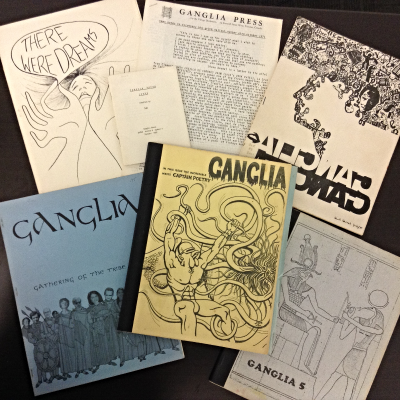 Covers of seven issues of Ganglia
