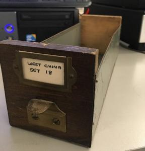 Original lantern slide box.