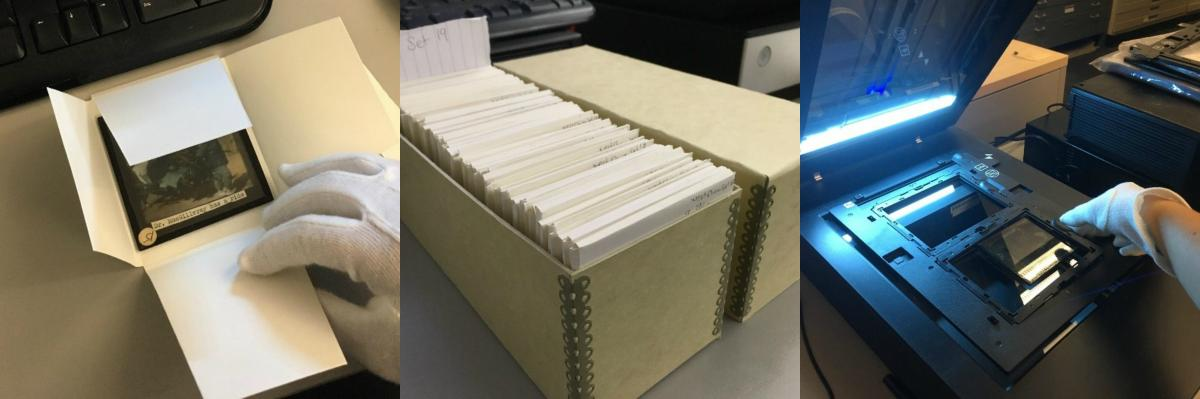 Three images. First, a slide being placed into a new archival envelope. Second, a set of slides in new archival box. Third, a slide being scanned for digitization.