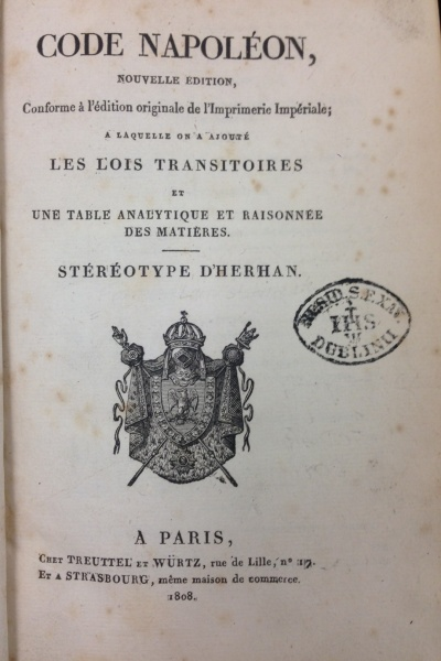 The title page of the Code Napoleon dated 1804 (Call No. KJV444. 21804.A52 1808)