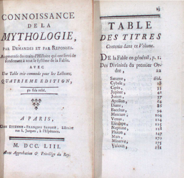 Title page and interior chart from Connoissance de la mythologie