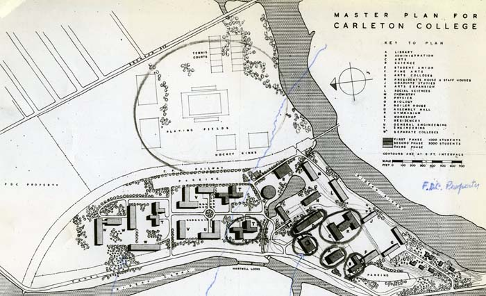 Architectural drawing of the Master Plan for Carleton University circa 1960