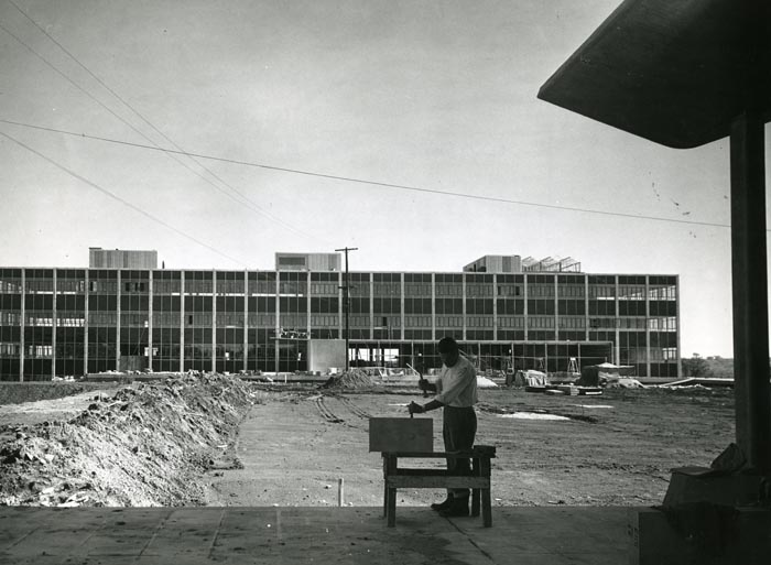 Photograph of construction of the Tory Building, September 18th, 1958.
