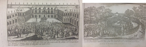 "Engravings of ""The Women's March on Versailles"" in the Revolution de France (No. XIII) (Call No. DC140 .R55)"