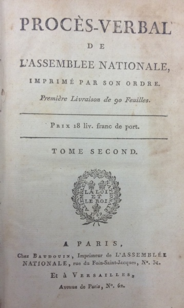 Title page of the Procès-Verbal de l'Assemblee Nationale dated 1789-1791 (Call No. DC165.A1)