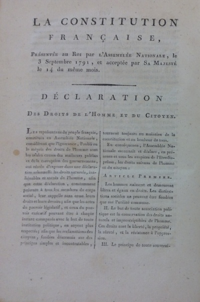 The first page of the Constitution Francaise de 1791