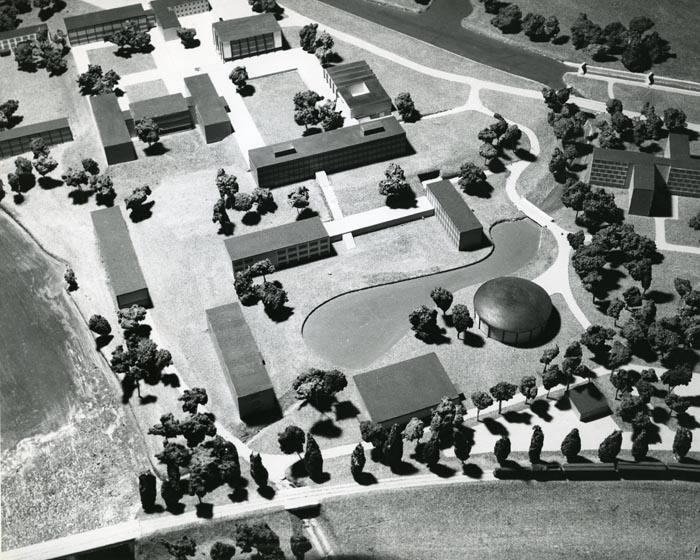 Photograph of architectural model of Carleton University circa 1956
