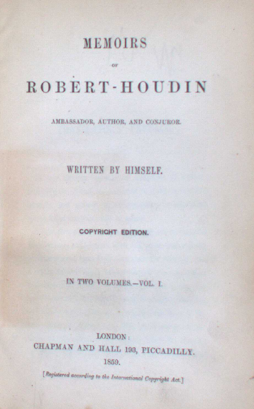 Title page of Robert-Houdin's Memoirs