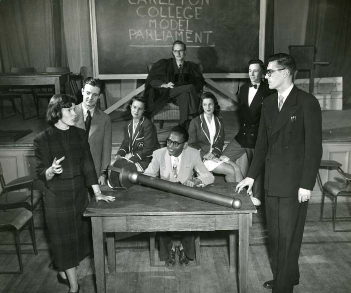 Photograph of students debating at Carleton College's mock parliament circa 1954