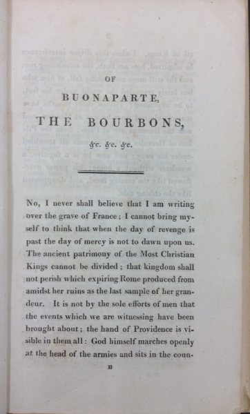 Title page of Of Buonaparte and the Bourbons, and of the necessity of rallying round our legitimate princes for the happiness of France and that of Europe written by François-René, vicomte de Chateaubriand dated 1814 (Call No. DC150.C43)
