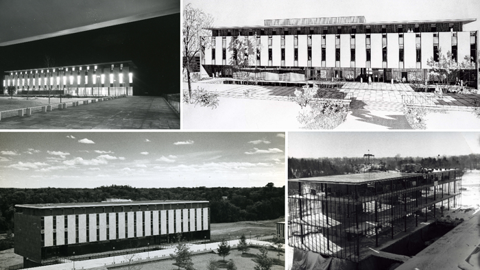 Composite of photographs of Patterson Hall under construction and completed circa 1960