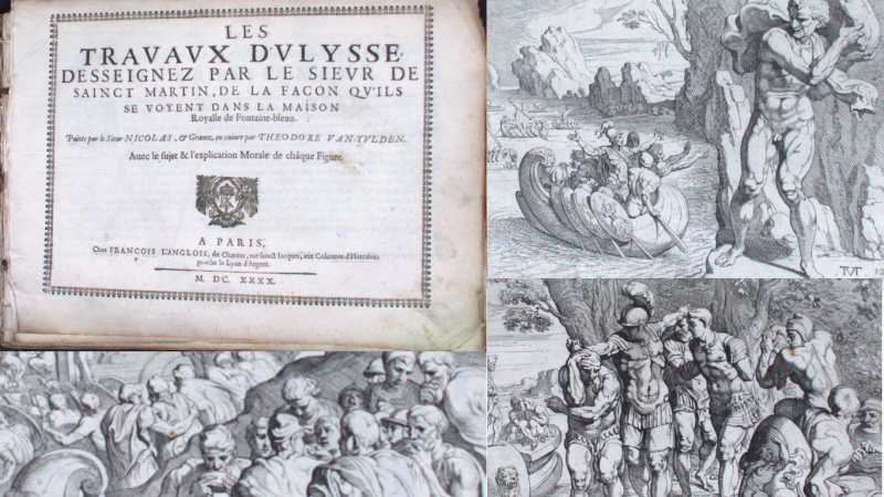Title page and artwork from Travaux d'Ulysse