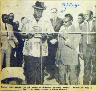 General Amin opens milk parlour in Nakyesasa, 1972