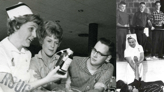 Composite of photographs showing students participating in blood drive circa 1960