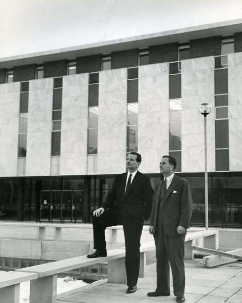Photograph of Claude T. Bissell and A. Davidson Dunton outside Patterson Hall on the new campus circa 1961. Note Patterson Hall's original marble panels.