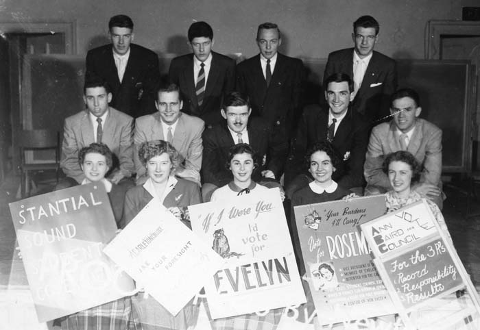 Photograph of female student council candidates at Carleton College circa 1956