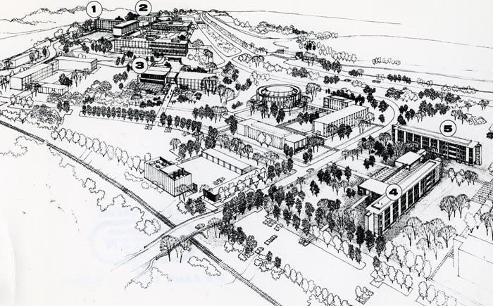 Sketch of Carleton University campus circa 1955