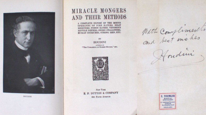 Cover page of Miracle Mongers and their Methods featuring Houdini's signature
