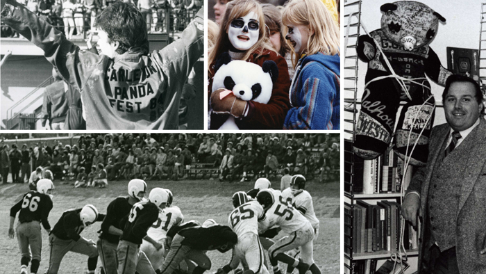 Photographs of students participating in Panda game activities