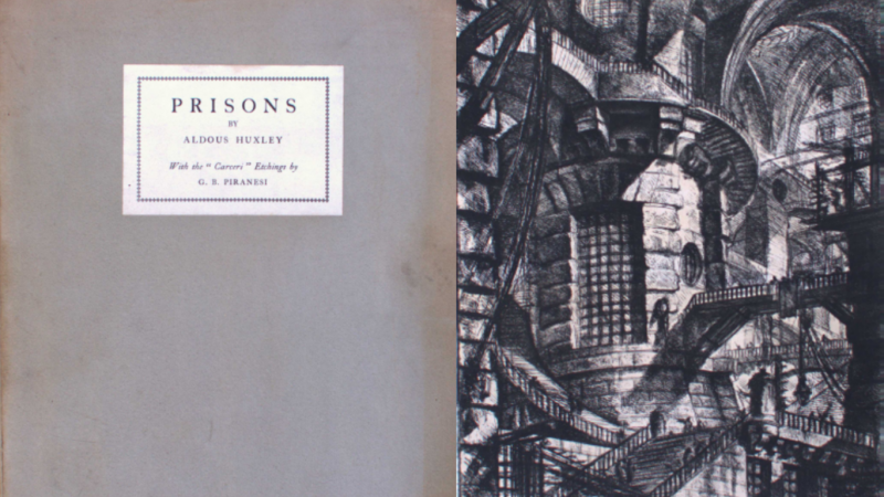 Cover of Prisons with example of Piranesi's sketches