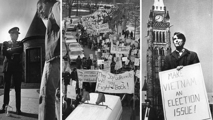 Composite of photographs showing students engaged in protest actions circa 1960