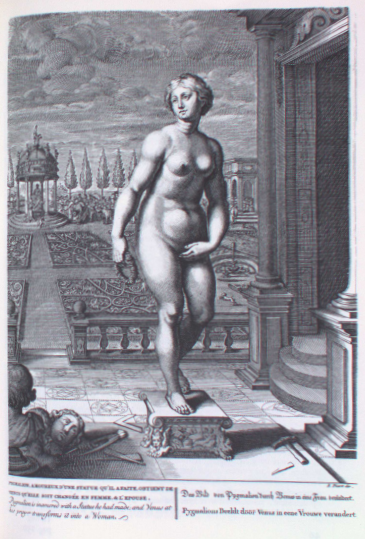 Engraving depicting Pygmaleon's sculpture from Temple of the Muses