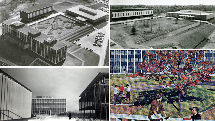 Composite photograph of quadrangle from various perspectives during and after construction ca. 1960