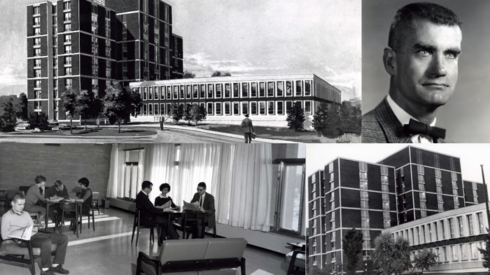 Composite photograph of interior and exterior of residence buildings and portrait of Norm Fenn
