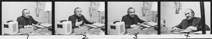Photographs of Jacob Siskind speaking into broadcast microphone