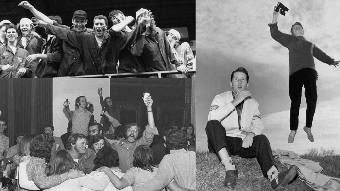 Compilation of photographs of student social activities involving athletics