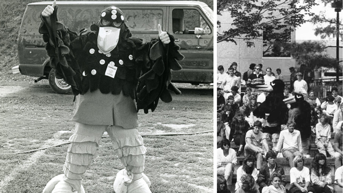 Composite photographs of Rodney and Ruby Raven mascots