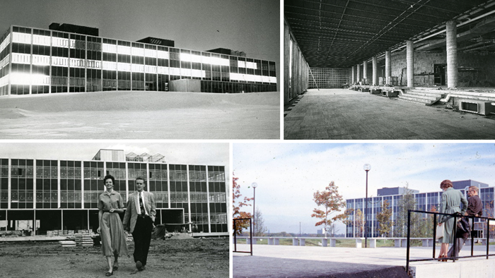 Composite of four photographs of the interior and exterior of the newly built Tory Building circa 1960
