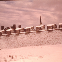 Fortifications of Fortress of Louisbourg in winter