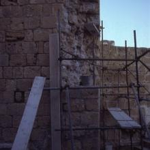 Scaffolding at damaged part of exterior of Kyrenia Castle