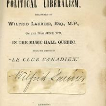 Laurier Lecture on Liberalism, title page
