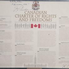 Canadian Charter of Rights & Freedoms signed by Trudeau