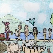 Champlain exchanging goods with Anishinabe men and women