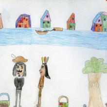 A child's drawing of Samuel de Champlain and an Anishinabe person