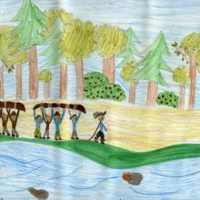 Anishinabe and European men carry canoes while Champlain leads the way