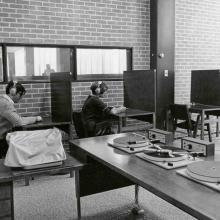 Students in Maxwell MacOdrum Library Listening room, 1968